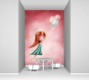 Маленькая девочка летит на шариках