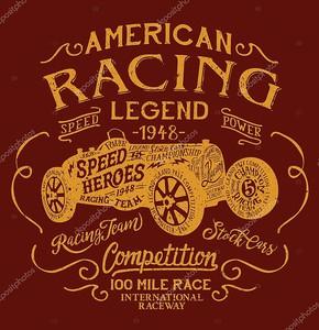 Легендарный автомобиль Американские гонки команде, старинные печати для мальчика человек t рубашка гранж эффект в отдельном слое