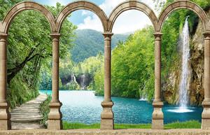 Вид на водопад через арки