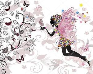 Волшебный узор с бабочками и феей