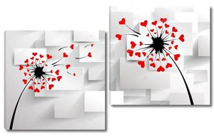 Черные одуванчики с красными сердечками