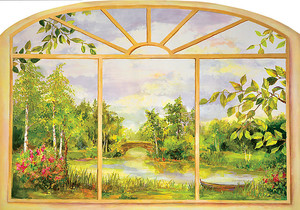 Красивый живописный парк в окне