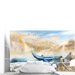 Бежевые горы, море, синяя лодка