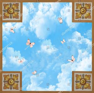 4 квадрата с узором с небом и бабочками
