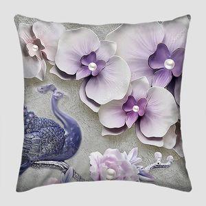 Светло-фиолетовые цветы с жемчугом и павлин