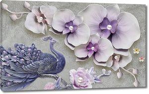 3d иллюстрация, серый текстурный фон, большие светло-фиолетовые цветы с жемчугом, большой синий павлин