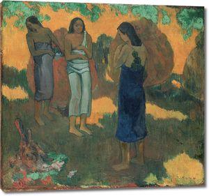 Поль Гоген. Три таитянки на желтом фоне