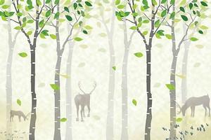 олени, деревья с листьями
