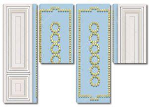 Сине-серый фон прямоугольников, золотой жемчуг в форме колец и прямоугольников