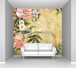 Винтажный цветочный фон с птицей