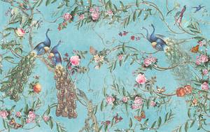 Павлины и розы в китайском узоре