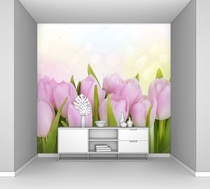 Тюльпаны розовые в ряд