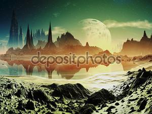 Руины инопланетян город рядом с озером