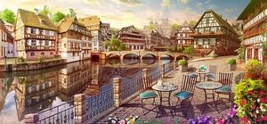 Прекрасный уличный пейзаж с кафе на набережной