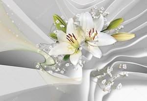 Лилии на атласной ткани