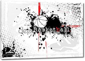 Баскетбольный плакат черно-белый