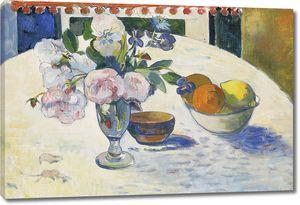 Поль Гоген. Цветы и миска с фруктами