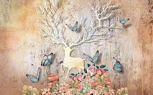 Силуэт оленя с бабочками
