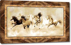 Табун лошадей на мраморе
