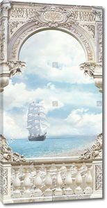 Парусник в море из арочного окна