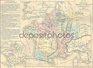 Античная карта Меровингов Франции,