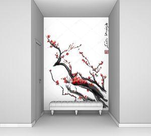Сакура, вишня цветет