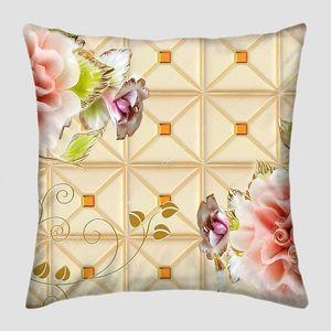 Плитка, большие розовые и фиолетовые цветы