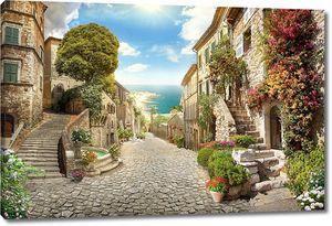 Живописный город с каменной дорогой
