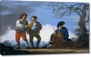 Кастильо Хосе дель. Мальчики играют метают кольца в цель