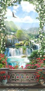 Цветочная арка с видом на водопады