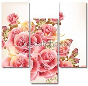 Красивый Векторный фон в винтажном стиле с цветами роз