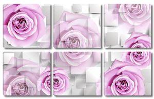 Прямоугольники, большие светло фиолетовые бутоны роз