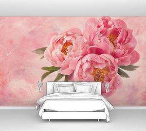 Пионы на розовом фоне