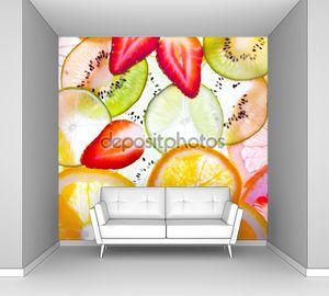 Нарезанные фрукты фон