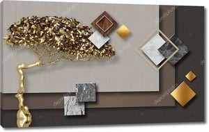 Разноцветные мраморные ромбы и квадраты, золотая фея бонсай