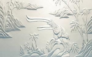 Абстрактные птицы, пальмы и холмы