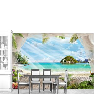 Терраса с видом на остров в море