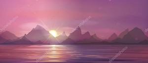 красивый пейзаж с закатом