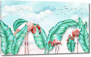 Фламинго с экзотическими листьями