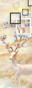 Белый олень на мраморном фоне