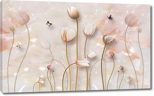 Тюльпаны на мраморном фоне