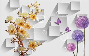 Цветки шарами с цветущей веткой