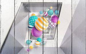 Разноцветные шары в кубической спирали
