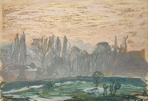 Моне Клод. Зимний пейзаж с вечерним небом, 1870