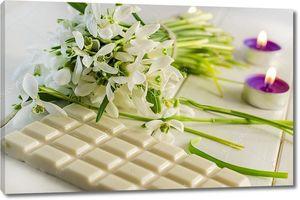 вино, белый шоколад и цветы