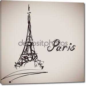 Гранж элегантность чернил всплеск Иллюстрация Эйфелевой башни и каллиграфии