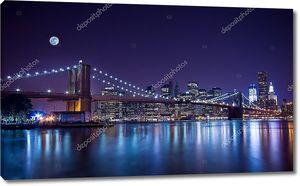Бруклинский мост ночью, при полной луне