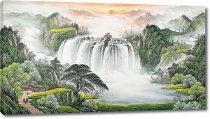 Водопад в азиатских горах