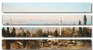 Вид на город с деревьями