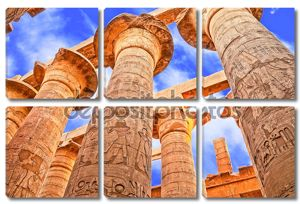 Большой Гипостильный зал и облака на храмы в Карнаке (древние Фивы). Луксор, Египет